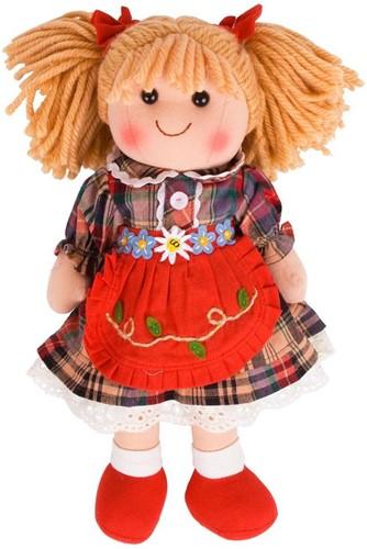 Bigjigs Mandie - Blonde Hair/Red Check Dress/Red Pinnie