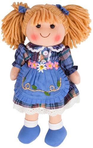 Bigjigs Katie - Blonde Hair/Blue Check Dress/Blue Pinnie