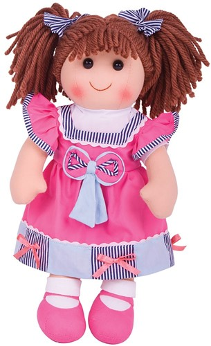 Bigjigs Emma - Hot Pink Dress/Stripey Blue Trim/Brown Hair
