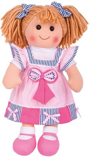 Bigjigs Georgie - Light Pink Dress/Blue Bowes/Blonde Hair