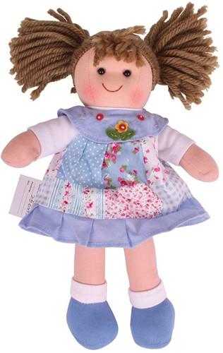 Bigjigs Sarah - Blue Patchwork Dress/Brown Hair