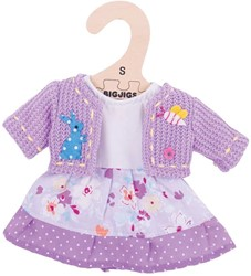 BigJigs 25cm Lilac Dress and Cardigan