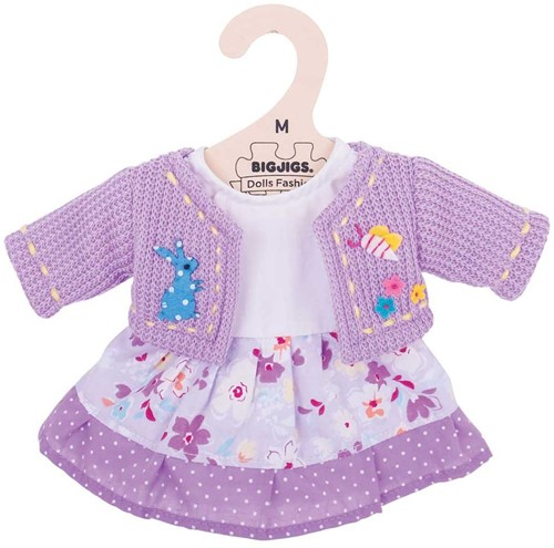 Bigjigs Lilac Dress and Cardigan - Medium
