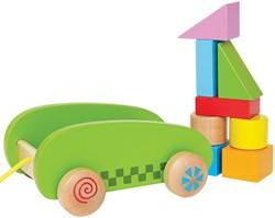 Hape houten blokkenwagen Mini Block & Roll