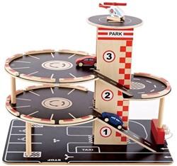 Hape houten speelstad gebouw Park & Go garage