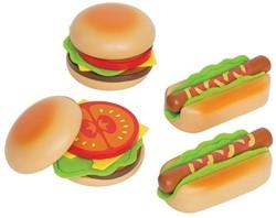 Hape houten keuken accessoires Hamburgers en hotdogs