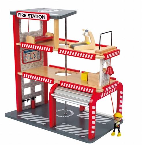 Hape houten speelstad gebouw Fire station-1