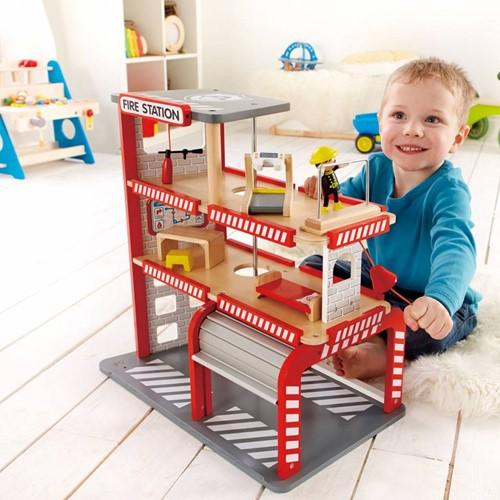 Hape houten speelstad gebouw Brandweerkazerne-2
