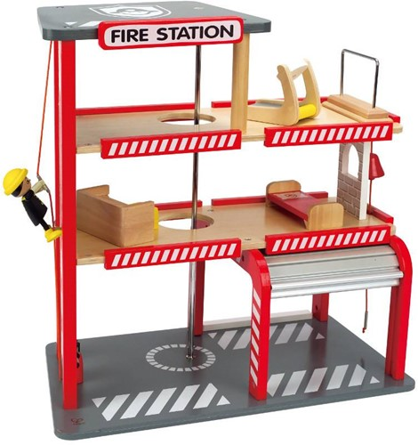 Hape houten speelstad gebouw Fire station-3