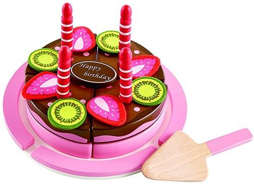 Hape houten keuken accessoires Double Flavored Birthday Cake-1