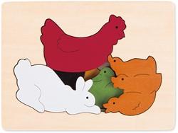 Hape houten legpuzzel Chickens & friends