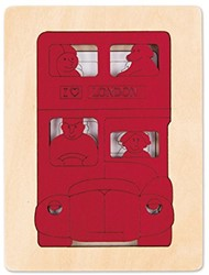 Hape houten legpuzzel Five buses