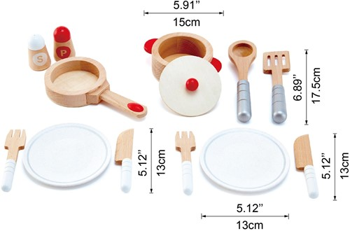 Hape houten keuken accessoires kook en servies set-3