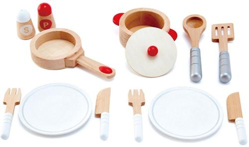 Hape houten keuken accessoires kook en servies set