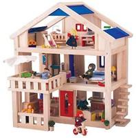 Plan Toys  houten poppenhuis Poppenhuis met terras 7150-1