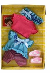 Monchhichi  knuffelpop kleren Boutique A blauwe jurk en roze shirt
