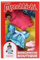 Monchhichi  knuffelpop kleren Boutique A blauwe jurk en roze shirt-2