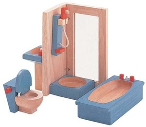 Image of Plan Toys houten poppenhuis meubels Badkamer