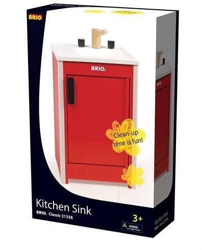 Brio  houten keukentje Spoelblok rood 31358