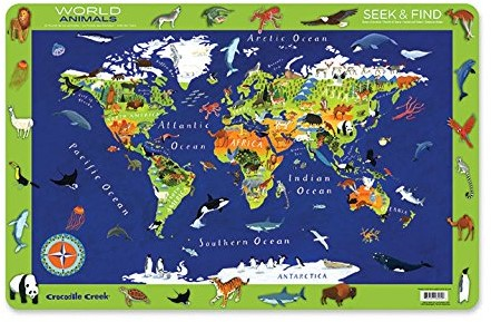 Crocodile Creek Placemats/World Animals (6 pcs)