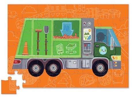 Crocodile Creek puzzelvoertuig vuilniswagen 48 stukjes-2