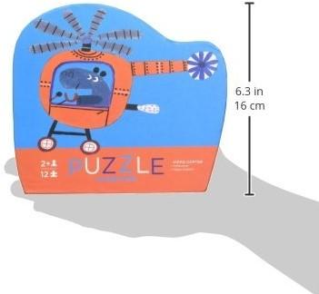 Crocodile Creek legpuzzel Mini Shaped Puzzle/Hippo Copte - 12 stukjes