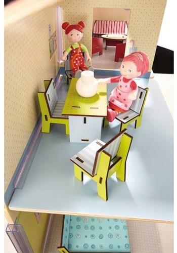 Haba  Little Friends houten poppenhuismeubels eetkamer