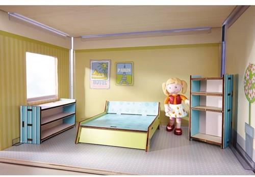 Haba  Little Friends houten poppenhuismeubels Slaapkamer dubbelbed-2