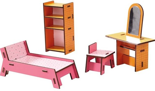Haba  Little Friends houten poppenhuismeubels Slaapkamer-1