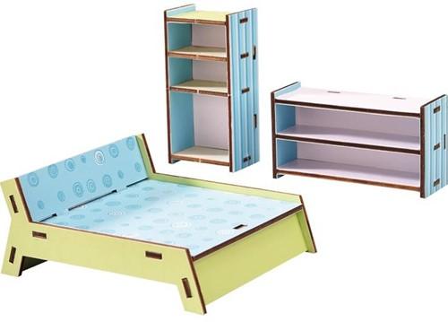 Haba  Little Friends houten poppenhuismeubels Slaapkamer dubbelbed-1