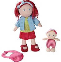 Haba  Lilli and friends knuffelpop Pop Rubina met baby - 30 cm en 12 cm-2
