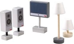 HABA Little Friends - Accessoires voor poppenhuis Televisie en lampen
