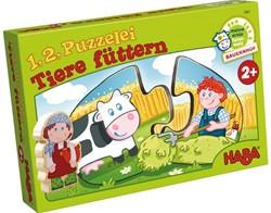 Haba  legpuzzel 1, 2 puzzel mee - Dieren voederen - 2 x 10 stukjes