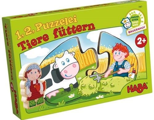 HABA 1, 2 puzzel mee - Dieren voederen