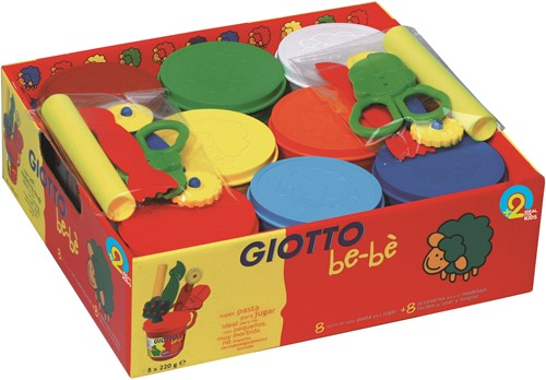 Giotto Schoolbox of 8 x 220 gr modeling clays + accessories  bébé