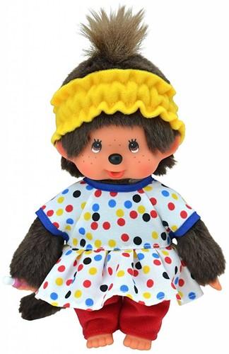 Monchhichi  knuffelpop Meisje Gekleurde outfit - 20 cm