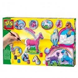 Ses  knutselspullen Gips glitter paarden