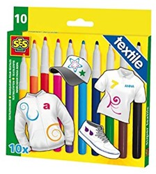 Ses  teken en verfspullen Textielstiften 10 kl.