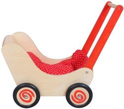 Simply  houten poppenmeubel Poppenwagen blank rood