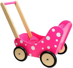 Planet Happy  poppen meubel Poppenwagen roze stippen