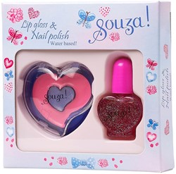 Souza Nagellak glitter + Lip gloss rose (2 stuks/6 sets)