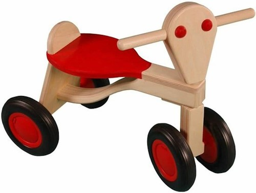 Van Dijk Toys houten loopfiets rood - berken