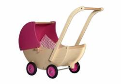 Van Dijk Toys  houten poppenmeubel Poppenwagen roze