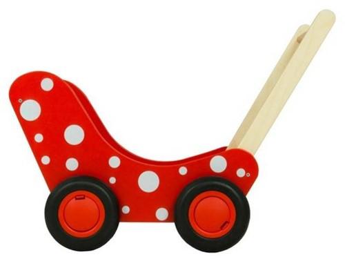 Van Dijk Toys Poppenwagen rood met witte stippen (flatpacked)