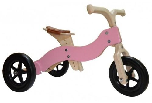 Van Dijk Toys houten loopfiets Dike-Trike roze 2 in 1