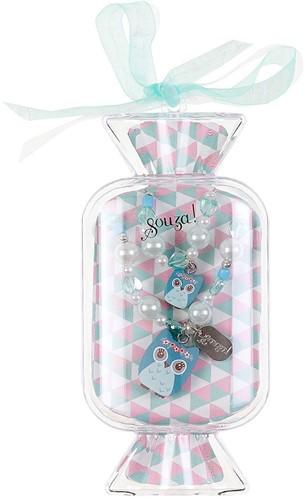 Souza Ketting + Armband in geschenkverpakking, Madina, mintgroen, volledig elastisch (1 set/doos, 6 doosjes)