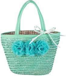 Souza - Sieraden - Bag Xanthe Mint, mint green straw with mint green flowers