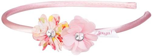 Souza Diadeem Carena, 2 bloemen met print, licht roze (1 stuk)