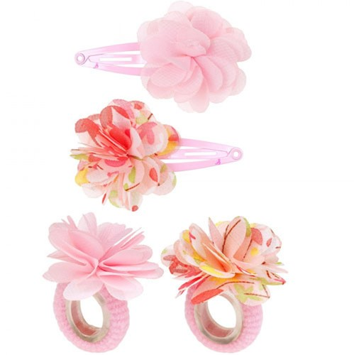 Souza - Sieraden - Hair clips Carena, flower+plain, l. pink+multi colour