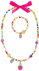Souza - Sieraden - Necklace+bracelet Sammy, with fruits, multicolour
